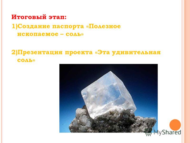 Итоговый этап: 1)Создание паспорта «Полезное ископаемое – соль» 2)Презентация проекта «Эта удивительная соль»