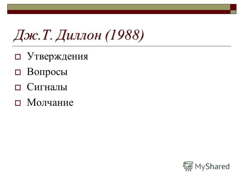 Дж.Т. Диллон (1988) Утверждения Вопросы Сигналы Молчание