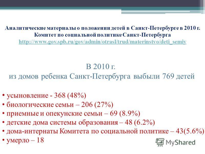 Аналитические материалы о положении детей в Санкт-Петербурге в 2010 г. Комитет по социальной политике Санкт-Петербурга http://www.gov.spb.ru/gov/admin/otrasl/trud/materinstvo/deti_semiy http://www.gov.spb.ru/gov/admin/otrasl/trud/materinstvo/deti_sem