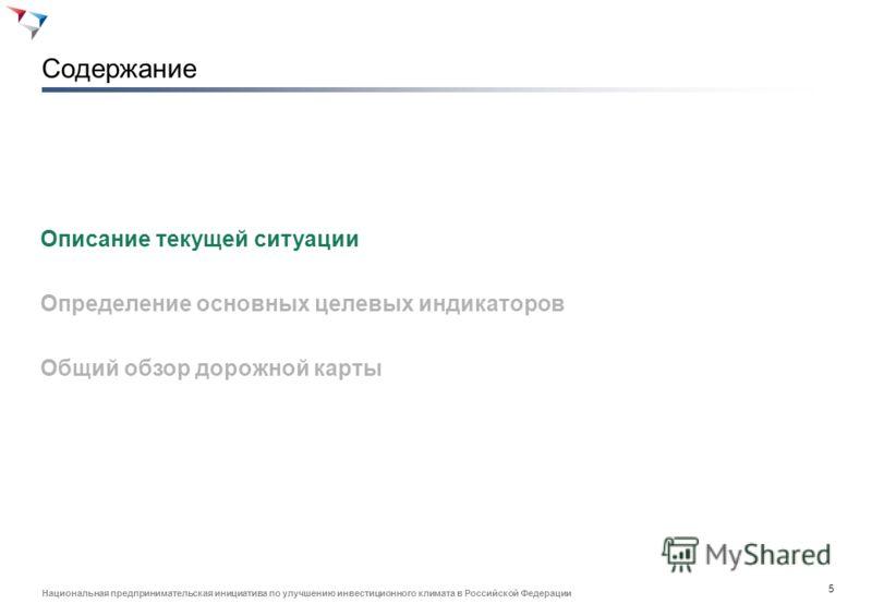 4 Национальная предпринимательская инициатива по улучшению инвестиционного климата в Российской Федерации 1. Общие цели Дорожной карты