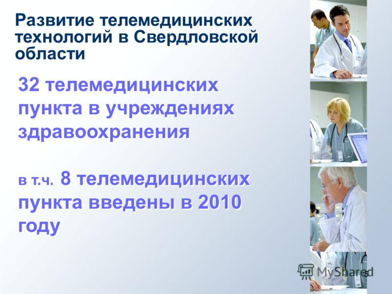 5 Развитие телемедицинских технологий в Свердловской области 32 телемедицинских пункта в учреждениях здравоохранения в т.ч. 8 телемедицинских пункта введены в 2010 году 32 телемедицинских пункта в учреждениях здравоохранения в т.ч. 8 телемедицинских