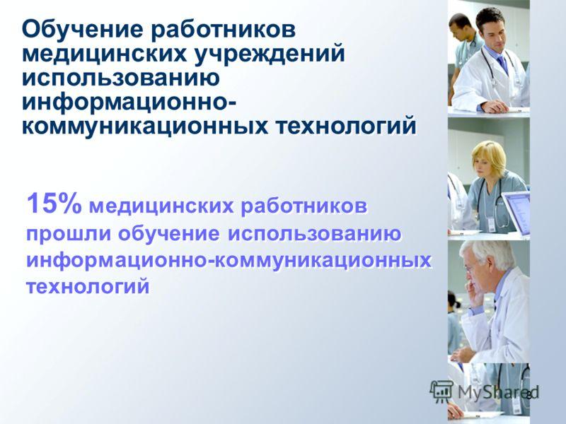 8 Обучение работников медицинских учреждений использованию информационно- коммуникационных технологий 15% медицинских работников прошли обучение использованию информационно-коммуникационных технологий