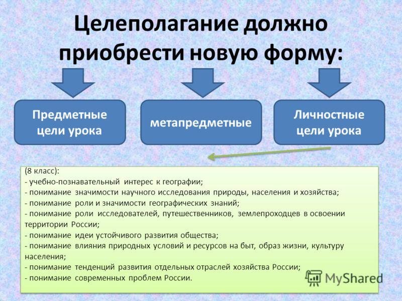 Целеполагание должно приобрести новую форму: Предметные цели урока метапредметные Личностные цели урока (8 класс): - учебно-познавательный интерес к географии; - понимание значимости научного исследования природы, населения и хозяйства; - понимание р