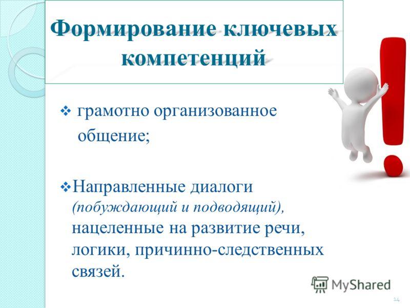 Формирование ключевых компетенций грамотно организованное общение; Направленные диалоги (побуждающий и подводящий), нацеленные на развитие речи, логики, причинно-следственных связей. 14