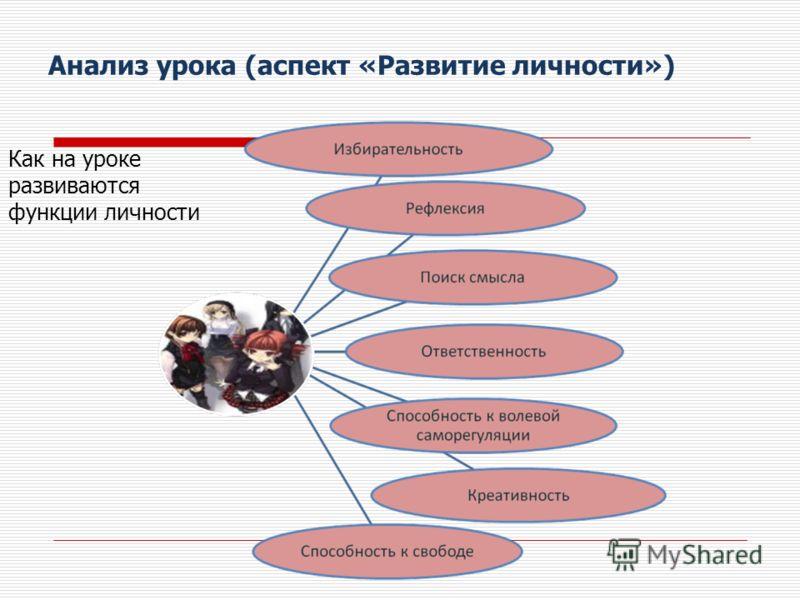 Анализ урока (аспект «Развитие личности») Как на уроке развиваются функции личности