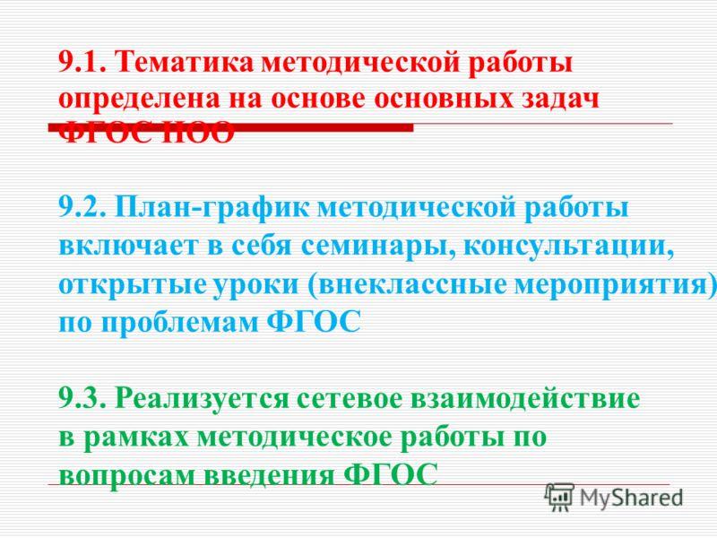 9.1. Тематика методической работы определена на основе основных задач ФГОС НОО 9.2. План-график методической работы включает в себя семинары, консультации, открытые уроки (внеклассные мероприятия) по проблемам ФГОС 9.3. Реализуется сетевое взаимодейс