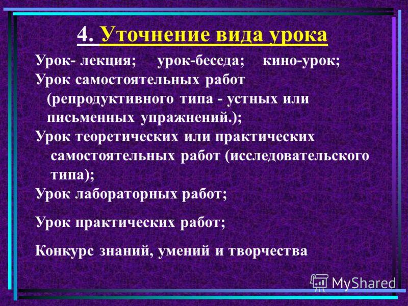 Задание группам Назовите известные вам виды (формы) уроков