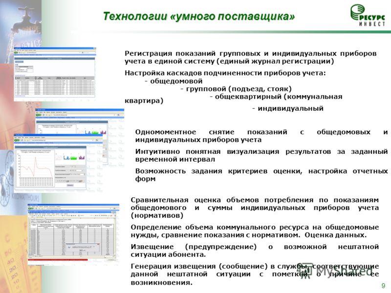 9 Регистрация показаний групповых и индивидуальных приборов учета в единой систему (единый журнал регистрации) Настройка каскадов подчиненности приборов учета: - общедомовой - групповой (подъезд, стояк) - общеквартирный (коммунальная квартира) - инди