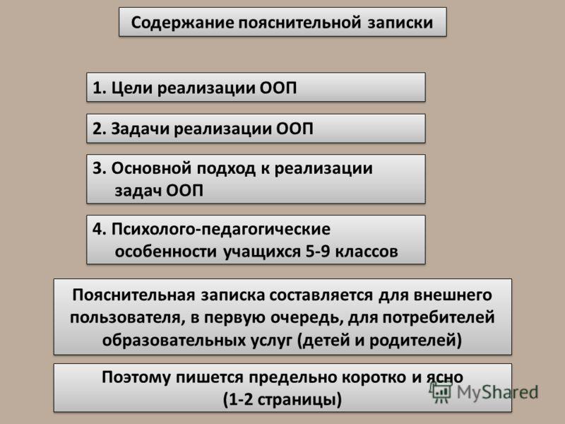 Содержание пояснительной записки 1. Цели реализации ООП 2. Задачи реализации ООП 3. Основной подход к реализации задач ООП 4. Психолого-педагогические особенности учащихся 5-9 классов Пояснительная записка составляется для внешнего пользователя, в пе