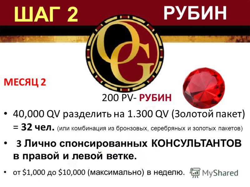 ШАГ 2 МЕСЯЦ 2 200 PV- РУБИН 40,000 QV разделить на 1.300 QV (Золотой пакет) = 32 чел. (или комбинация из бронзовых, серебряных и золотых пакетов) 3 Лично спонсированных КОНСУЛЬТАНТОВ в правой и левой ветке. от $1,000 дo $10,000 ( максимально) в недел