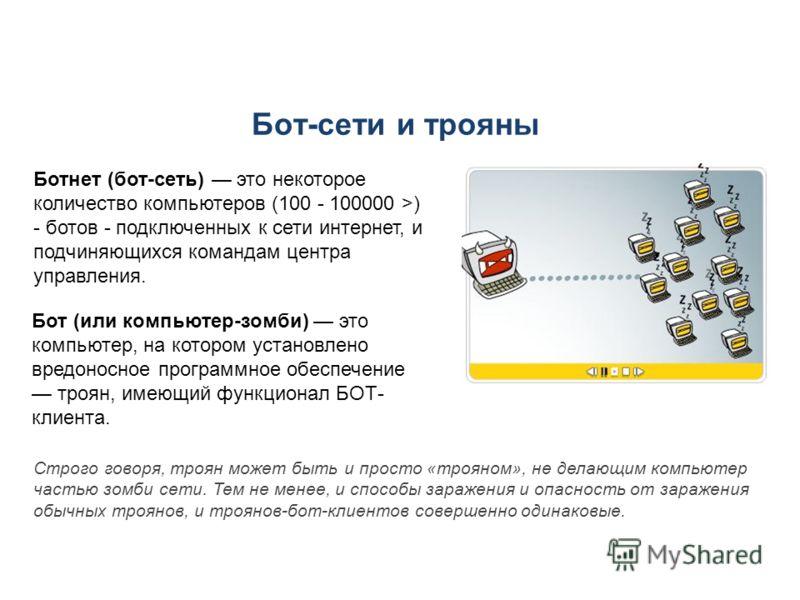 Бот-сети и трояны Ботнет (бот-сеть) это некоторое количество компьютеров (100 - 100000 >) - ботов - подключенных к сети интернет, и подчиняющихся командам центра управления. Строго говоря, троян может быть и просто «трояном», не делающим компьютер ча