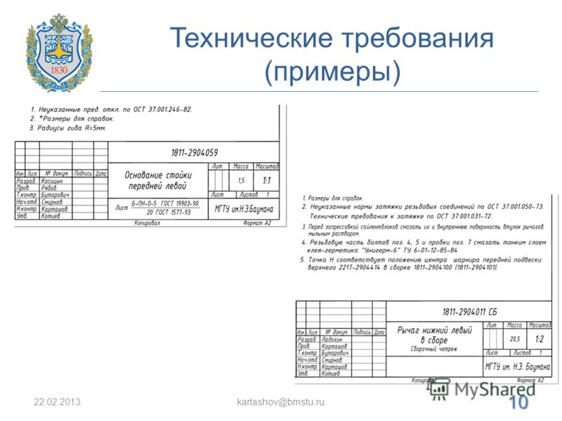 Технические требования (примеры) 22.02.2013kartashov@bmstu.ru 10