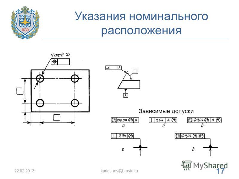 Указания номинального расположения 22.02.2013kartashov@bmstu.ru 17 Зависимые допуски