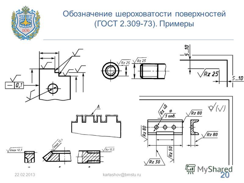 Обозначение шероховатости поверхностей (ГОСТ 2.309-73). Примеры 22.02.2013kartashov@bmstu.ru 20