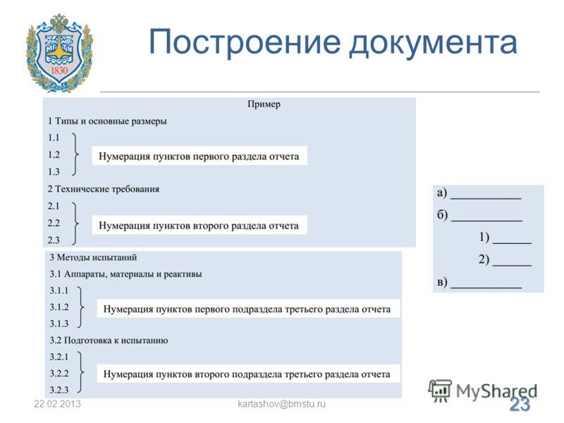 Построение документа 22.02.2013kartashov@bmstu.ru 23