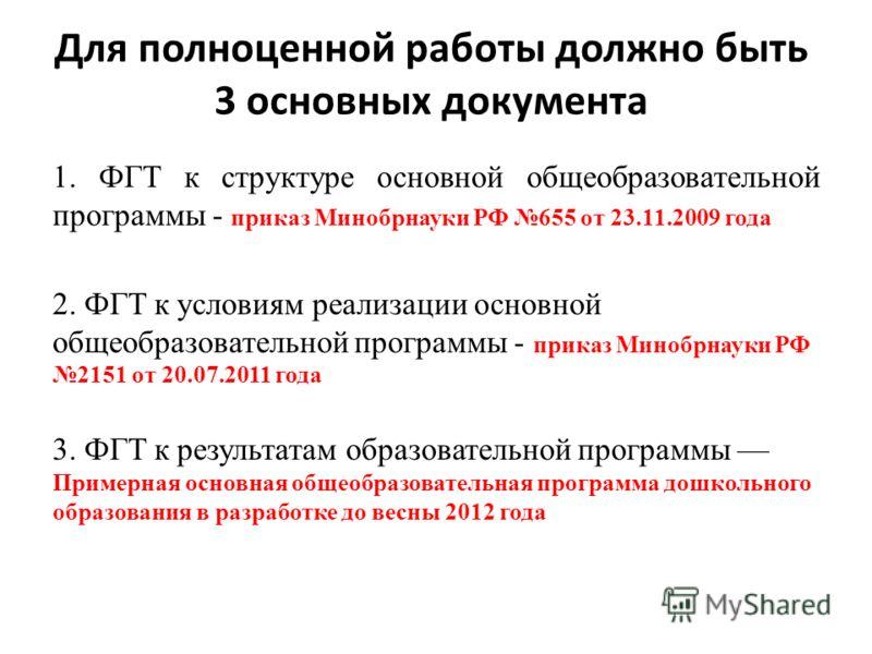 Для полноценной работы должно быть 3 основных документа 1. ФГТ к структуре основной общеобразовательной программы - приказ Минобрнауки РФ 655 от 23.11.2009 года 2. ФГТ к условиям реализации основной общеобразовательной программы - приказ Минобрнауки