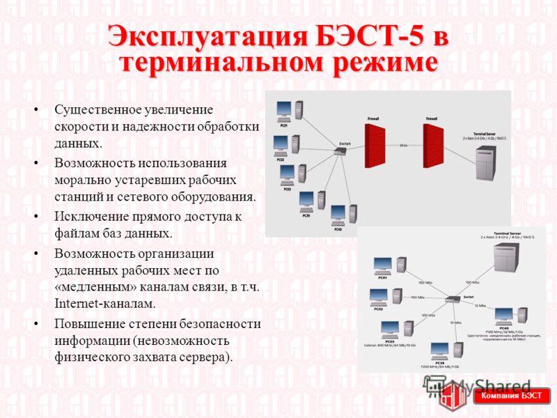 Эксплуатация БЭСТ-5 в терминальном режиме Существенное увеличение скорости и надежности обработки данных. Возможность использования морально устаревших рабочих станций и сетевого оборудования. Исключение прямого доступа к файлам баз данных. Возможнос