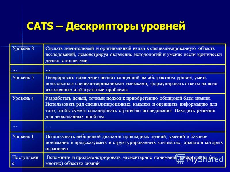 CATS – Дескрипторы уровней Уровень 8 Сделать значительный и оригинальный вклад в специализированную область исследований, демонстрируя овладение методологий и умение вести критически диалог с коллегами. … … Уровень 5 Генерировать идеи через анализ ко