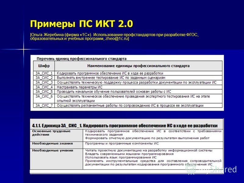 Примеры ПС ИКТ 2.0 [Ольга Жеребина (фирма «1С»). Использование профстандартов при разработке ФГОС, образовательных и учебных программ, zheo@1c.ru]