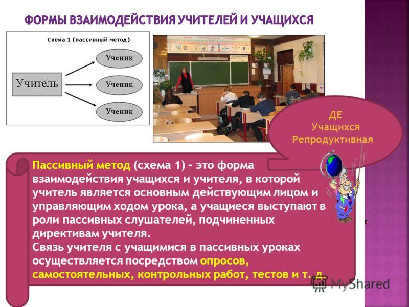 Пассивный метод (схема 1) – это форма взаимодействия учащихся и учителя, в которой учитель является основным действующим лицом и управляющим ходом урока, а учащиеся выступают в роли пассивных слушателей, подчиненных директивам учителя. Связь учителя