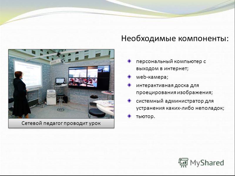 Необходимые компоненты: персональный компьютер с выходом в интернет; web-камера; интерактивная доска для проецирования изображения; системный администратор для устранения каких-либо неполадок; тьютор. Сетевой педагог проводит урок