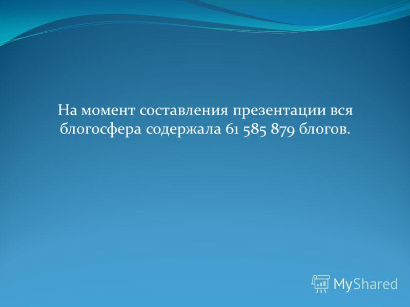 На момент составления презентации вся блогосфера содержала 61 585 879 блогов.