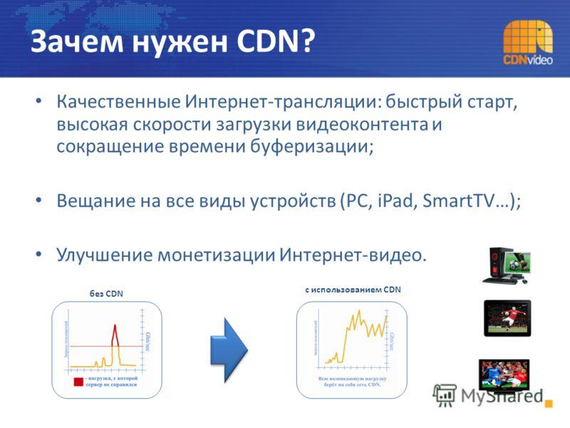 Качественные Интернет-трансляции: быстрый старт, высокая скорости загрузки видеоконтента и сокращение времени буферизации; Вещание на все виды устройств (PC, iPad, SmartTV…); Улучшение монетизации Интернет-видео. Зачем нужен CDN? без CDN с использова