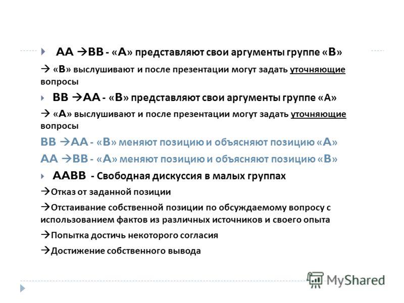 AA BB - «A» представляют свои аргументы группе «B» «B» выслушивают и после презентации могут задать уточняющие вопросы BB AA - «B» представляют свои аргументы группе « А » «A» выслушивают и после презентации могут задать уточняющие вопросы BB AA - «B