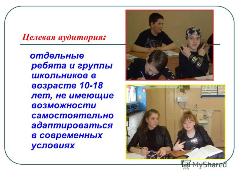 Целевая аудитория : отдельные ребята и группы школьников в возрасте 10-18 лет, не имеющие возможности самостоятельно адаптироваться в современных условиях
