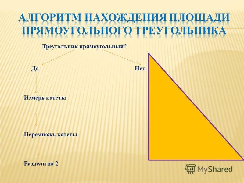 Треугольник прямоугольный? Да Нет Измерь катеты Перемножь катеты Раздели на 2