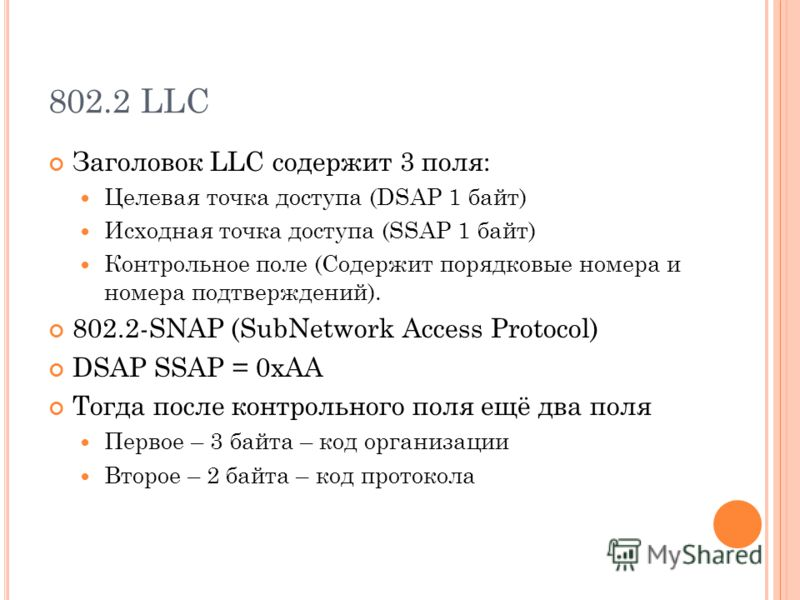802.2 LLC Заголовок LLC содержит 3 поля: Целевая точка доступа (DSAP 1 байт) Исходная точка доступа (SSAP 1 байт) Контрольное поле (Содержит порядковые номера и номера подтверждений). 802.2-SNAP (SubNetwork Access Protocol) DSAP SSAP = 0xAA Тогда пос