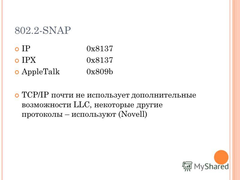 802.2-SNAP IP 0x8137 IPX 0x8137 AppleTalk0x809b TCP/IP почти не использует дополнительные возможности LLC, некоторые другие протоколы – используют (Novell)