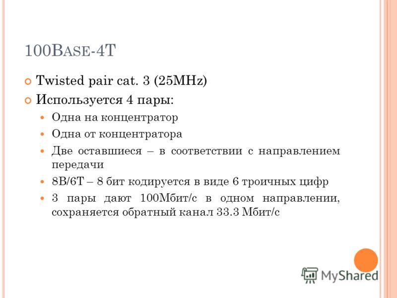 100B ASE -4T Twisted pair cat. 3 (25MHz) Используется 4 пары: Одна на концентратор Одна от концентратора Две оставшиеся – в соответствии с направлением передачи 8B/6T – 8 бит кодируется в виде 6 троичных цифр 3 пары дают 100Мбит/c в одном направлении