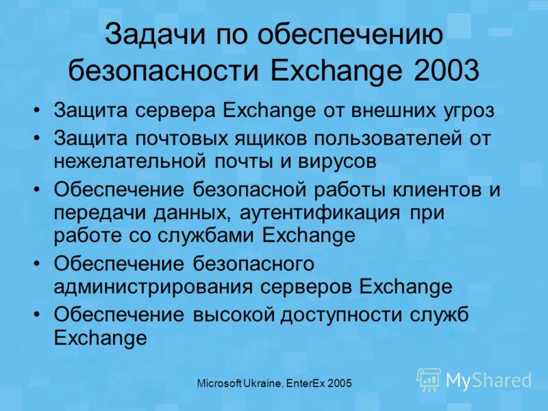Microsoft Ukraine, EnterEx 2005 Задачи по обеспечению безопасности Exchange 2003 Защита сервера Exchange от внешних угроз Защита почтовых ящиков пользователей от нежелательной почты и вирусов Обеспечение безопасной работы клиентов и передачи данных,