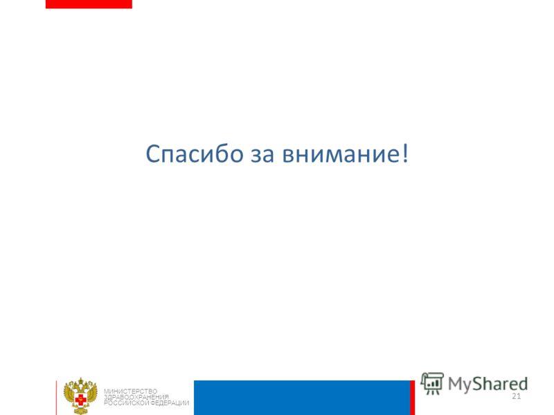 Спасибо за внимание! 21 МИНИСТЕРСТВО ЗДРАВООХРАНЕНИЯ РОССИЙСКОЙ ФЕДЕРАЦИИ