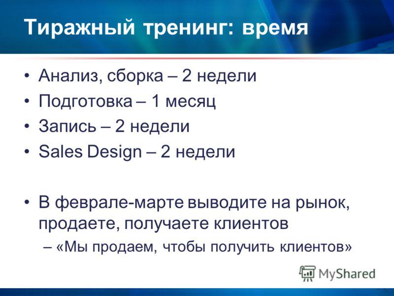 Тиражный тренинг: время Анализ, сборка – 2 недели Подготовка – 1 месяц Запись – 2 недели Sales Design – 2 недели В феврале-марте выводите на рынок, продаете, получаете клиентов –«Мы продаем, чтобы получить клиентов»