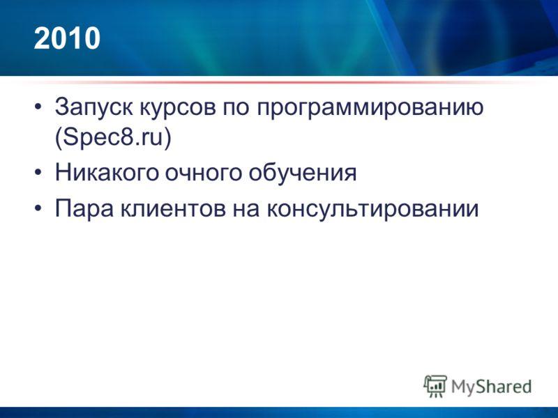 2010 Запуск курсов по программированию (Spec8.ru) Никакого очного обучения Пара клиентов на консультировании
