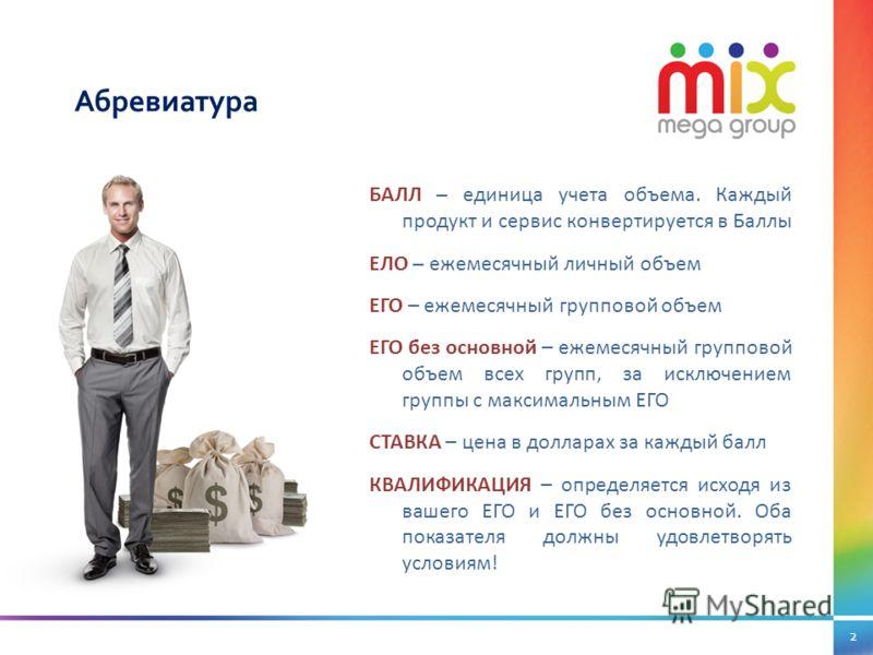 2 Абревиатура БАЛЛ – единица учета объема. Каждый продукт и сервис конвертируется в Баллы ЕЛО – ежемесячный личный объем ЕГО – ежемесячный групповой объем ЕГО без основной – ежемесячный групповой объем всех групп, за исключением группы с максимальным