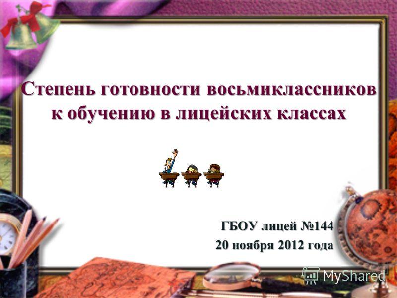 Степень готовности восьмиклассников к обучению в лицейских классах ГБОУ лицей 144 20 ноября 2012 года