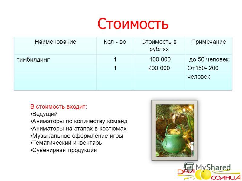 Стоимость В стоимость входит: Ведущий Аниматоры по количеству команд Аниматоры на этапах в костюмах Музыкальное оформление игры Тематический инвентарь Сувенирная продукция