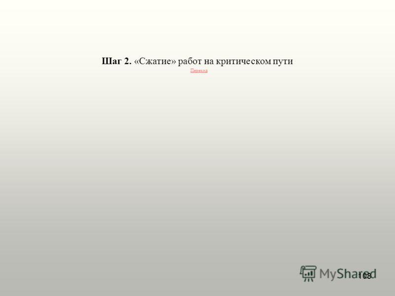 108 Шаг 2. «Сжатие» работ на критическом пути Переход