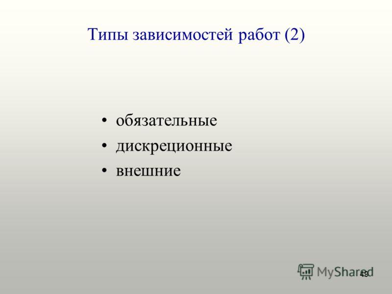 49 Типы зависимостей работ (2) обязательные дискреционные внешние