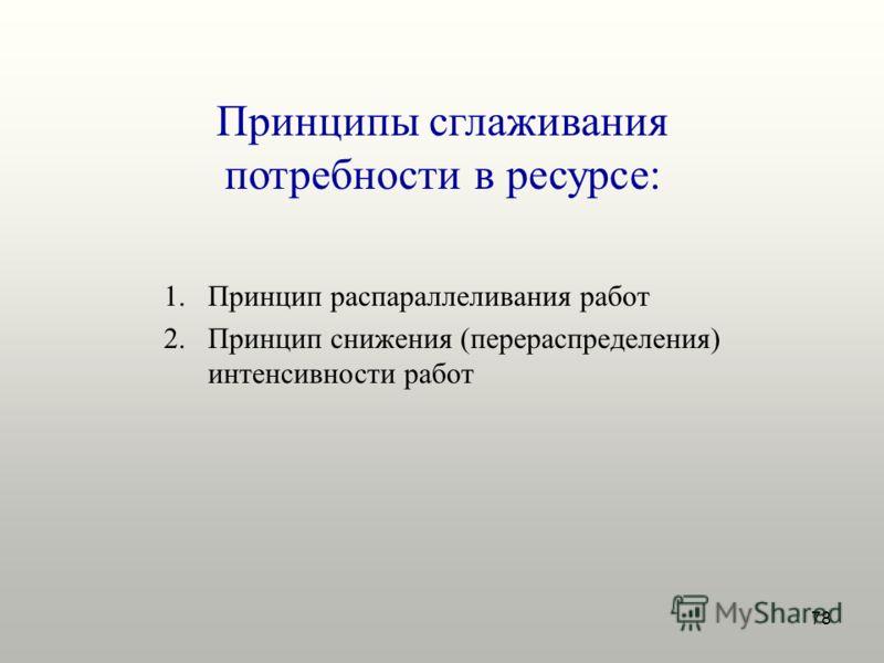 78 Принципы сглаживания потребности в ресурсе: 1.Принцип распараллеливания работ 2.Принцип снижения (перераспределения) интенсивности работ