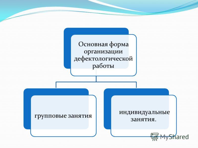 Основная форма организации дефектологической работы групповые занятия индивидуальные занятия.
