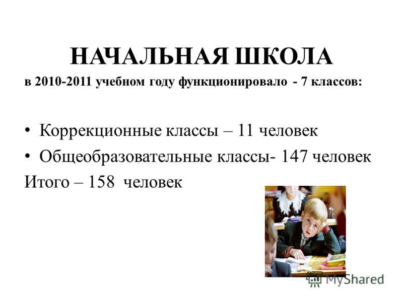НАЧАЛЬНАЯ ШКОЛА в 2010-2011 учебном году функционировало - 7 классов: Коррекционные классы – 11 человек Общеобразовательные классы- 147 человек Итого – 158 человек