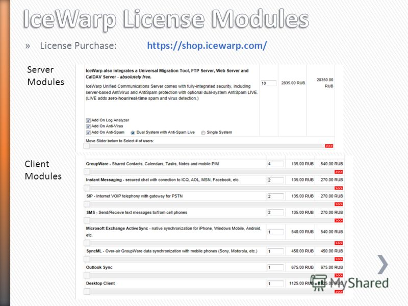 » License Purchase:https://shop.icewarp.com/ Server Modules Client Modules