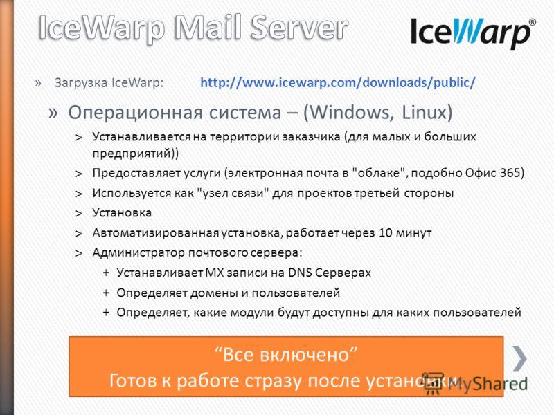 » Операционная система – (Windows, Linux) ˃Устанавливается на территории заказчика (для малых и больших предприятий)) ˃Предоставляет услуги (электронная почта в