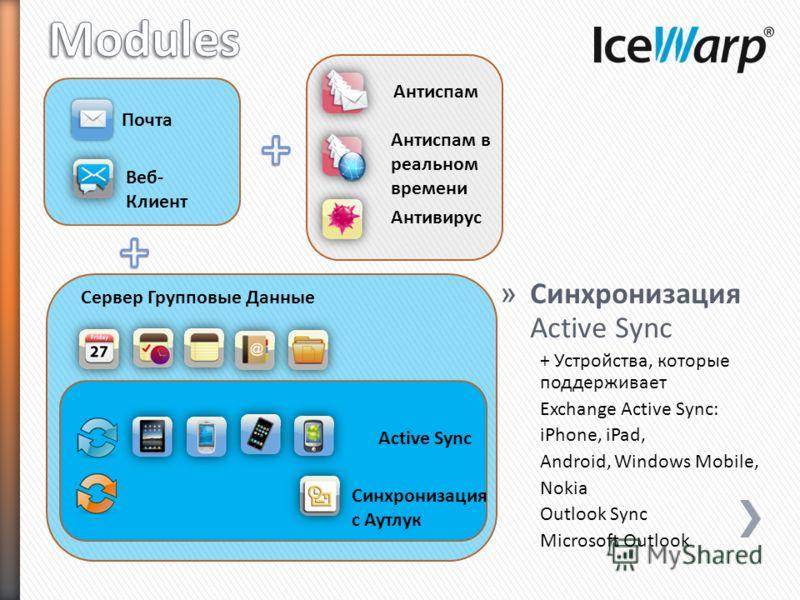 Почта Веб- Клиент » Синхронизация Active Sync + Устройства, которые поддерживает Exchange Active Sync: iPhone, iPad, Android, Windows Mobile, Nokia Outlook Sync Microsoft Outlook Антиспам Антиспам в реальном времени Антивирус Сервер Групповые Данные