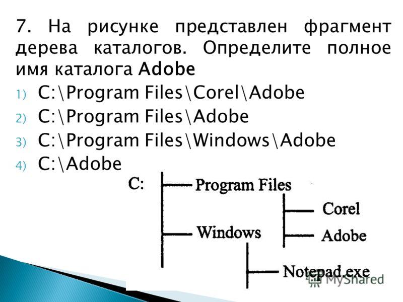 7. На рисунке представлен фрагмент дерева каталогов. Определите полное имя каталога Adobe 1) C:\Program Files\Corel\Adobe 2) C:\Program Files\Adobe 3) C:\Program Files\Windows\Adobe 4) C:\Adobe