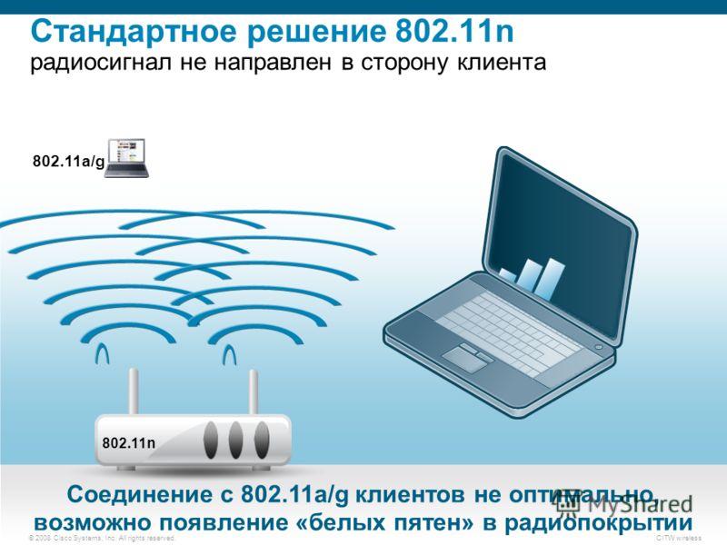 © 2008 Cisco Systems, Inc. All rights reserved.CITW wireless 802.11a/g Соединение с 802.11a/g клиентов не оптимально, возможно появление «белых пятен» в радиопокрытии 802.11n Стандартное решение 802.11n радиосигнал не направлен в сторону клиента